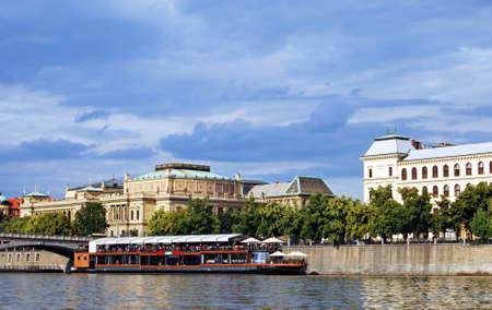 vltava: Vltava River and river boat cruisers, Prague, Czech Republic, Eastern Europe. Editorial