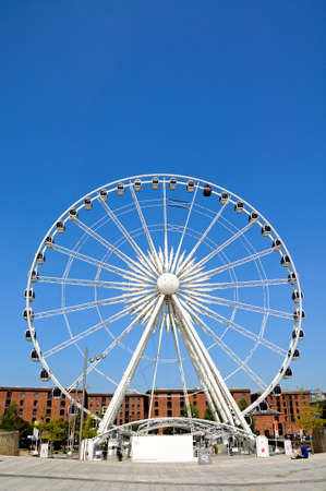 western europe: View of the Echo wheel of Liverpool at Keel Wharf, Liverpool, Merseyside, England, UK, Western Europe. Editorial