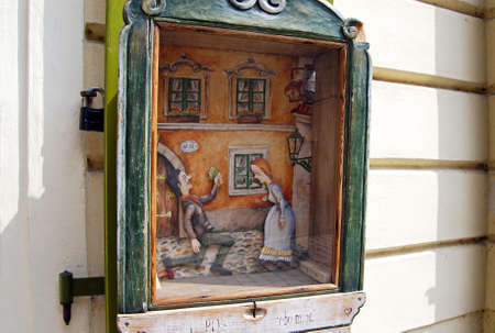 operated: Small coin operated puppet theatre, Prague, Czech Republic, Eastern Europe. Editorial