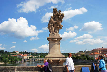 infant jesus: Statue of St Anne with the infant Jesus (by Matej Vaclav Jackel) on the North side of Charles Bridge, Prague, Czech Republic, Eastern Europe.