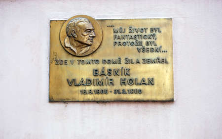 Commemorative plaque of Basnik Vladimir Holan on Kampa (Czech poet), Prague, Czech Republic, Eastern Europe.
