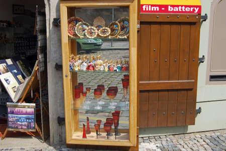 mementos: Souvenirs for sale outside a shop, Czech Republic, Eastern Europe. Editorial