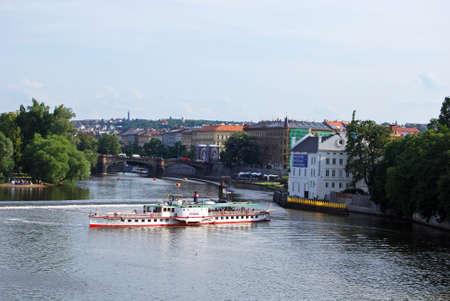 vltava: Tourist boat travelling along the Vltava River, Prague, Czech Republic, Eastern Europe. Editorial