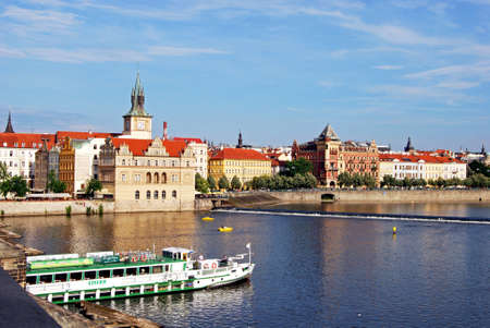 vltava river: View from the Charles bridge of the Vltava River with the tower of the Smetana Museum (Muzeum Bedricha Smetany) to the rear, Prague, Czech Republic, Eastern Europe. Editorial