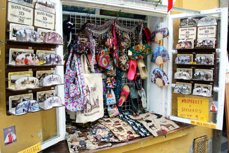 mementos: Handmade stereo postcards and other souvenirs in an open shop window, Czech Republic, Eastern Europe. Editorial