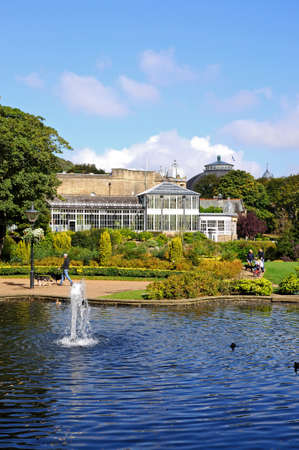 derbyshire: Pavilion buildings and side of Opera House in the Pavilion Gardens, Buxton, Derbyshire, England, UK, Western Europe.