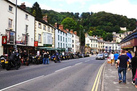 derbyshire: Motor cyclists lining the high street, Matlock Bath, Derbyshire, England, UK, Western Europe. Editorial