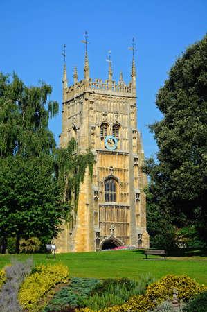 worcestershire: Abbey clock in Abbey Gardens, Evesham, Worcestershire, England, UK, Western Europe.