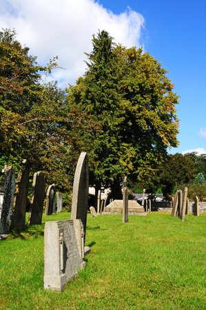 derbyshire: Holy Trinity Parish Church graveyard, Ashford-in-the-Water, Derbyshire, England, UK, Western Europe. Editorial