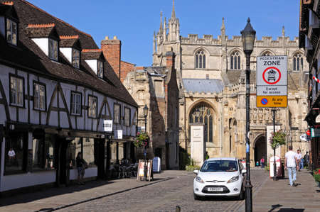 southgate: View along College Street towards the Cathedral, Gloucester, Gloucestershire, England, UK, Western Europe. Editorial