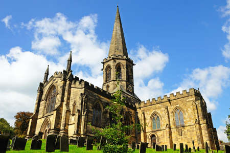 churchyard: All Saints Parish Church and churchyard, Bakewell, Derbyshire, England, UK, Western Europe. Stock Photo