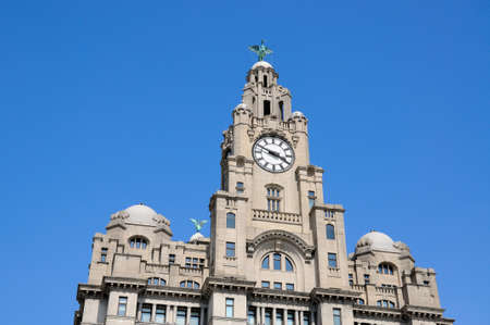 merseyside: The Royal Liver Building clock tower and Liver Bird at Pier Head, Liverpool, Merseyside, England, UK, Western Europe.