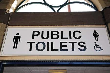 derbyshire: Public toilets sign, Derby, Derbyshire, England, UK, Western Europe.