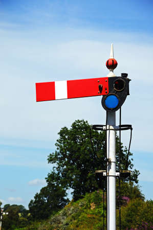 quadrant: Great Western Railways lower quadrant semaphore signal in the stopdanger position, Severn Valley Railway, Arley, Worcestershire, England, UK, Western Europe. Stock Photo