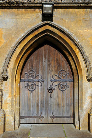 gloucestershire: St Davids church doorway, Moreton-in-Marsh, Cotswolds, Gloucestershire, England, UK, Western Europe.