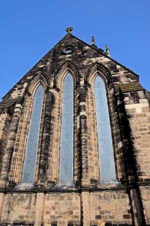 stafford: Collegiate Church of St Mary window, Stafford, Staffordshire, England, UK, Western Europe.