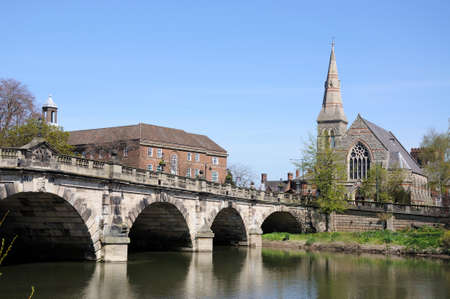 severn: The English Bridge across the River Severn with United Reformed Church to the right hand side, Shrewsbury, Shropshire, England, UK, Western Europe. Stock Photo
