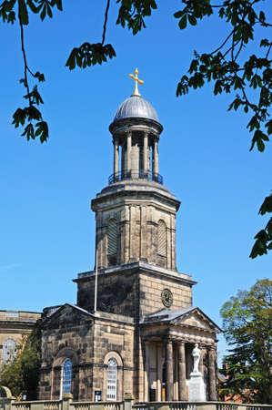 chads: View of St Chads church tower and dome, Shrewsbury, Shropshire, England, UK, Western Europe. Stock Photo