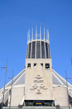 merseyside: Roman Catholic Cathedral showing four bells and cross, Liverpool, Merseyside, England, UK, Western Europe. Archivio Fotografico
