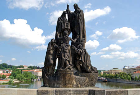 st charles: Statue of St Cyril and St Methodius along the North side of Charles Bridge (Karluv Most), Prague, Czech Republic, Eastern Europe. Editorial