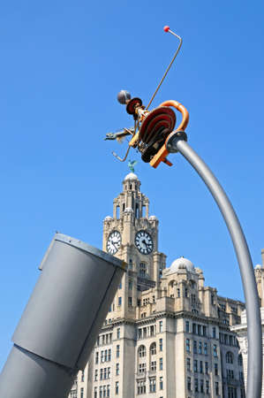 merseyside: The Royal Liver Building seen through the Heaven and Earth telescope at Pier Head, Liverpool, Merseyside, England, UK, Western Europe.