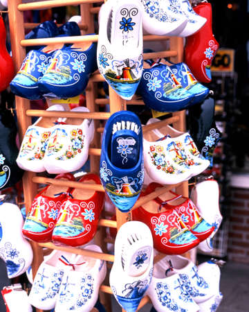 volendam: Clogs for sale at gift shop in the harbour area, Volendam, Holland, Netherlands, Europe. Stock Photo