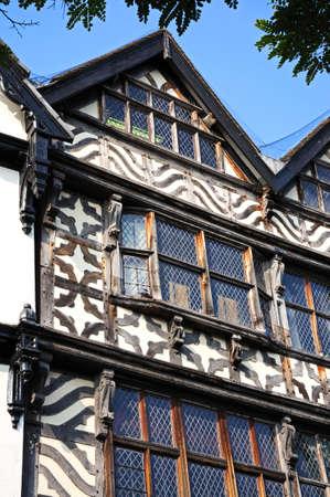 stafford: Particolare della finestra di The Ancient High House lungo Greengate Street, Stafford, Staffordshire, Inghilterra, Regno Unito, Europa occidentale. Editoriali