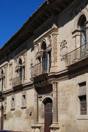 plateresque: Town hall Ayuntamiento Antigua Carcel, Baeza, Jaen Province, Andalusia, Spain, Western Europe.