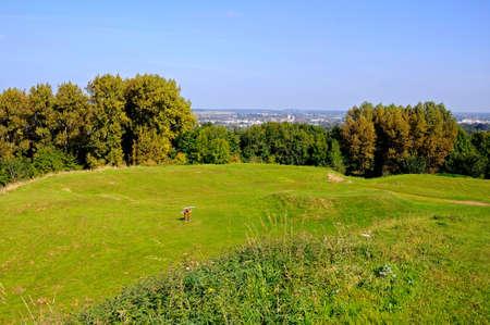 stafford: Vista dal tumulo castello sulla campagna dello Staffordshire, Stafford, Staffordshire, Inghilterra, Regno Unito, Europa occidentale. Archivio Fotografico