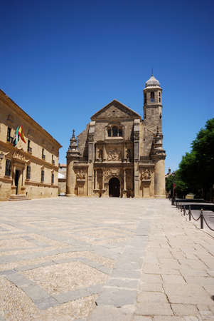 plateresque: The Sacred Chapel of El Salvador Capilla del Salvador in the Plaza de Vazquez de Molina, Ubeda, Jaen Province, Andalusia, Spain, Western Europe.