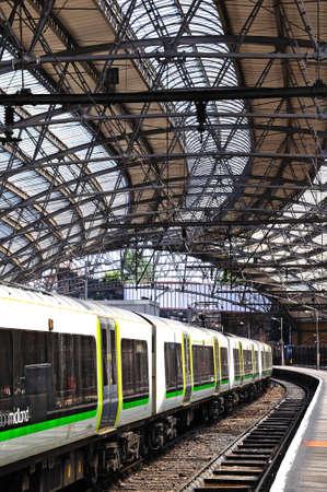 merseyside: London Midland Class 350 train alongside platform in Lime Street Railway Station, Liverpool, Merseyside, England, UK, Western Europe Editorial