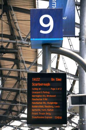 merseyside: Destination board along platform nine inside Lime Street Railway Station, Liverpool, Merseyside, England, UK, Western Europe. Editorial