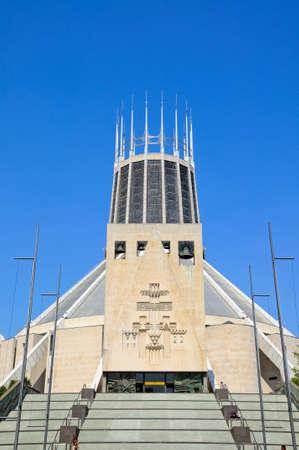 roman catholic: Steps leading to the Roman Catholic Cathedral, Liverpool, Merseyside, England, UK, Western Europe.