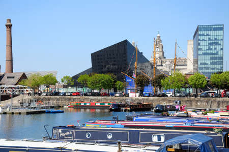 merseyside: View across Salthouse Dock towards the Liver Building and The Pumphouse, Liverpool, Merseyside, England, UK, Western Europe.