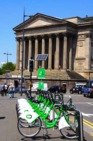 neo classical: View of St Georges Hall with City bikes in the foreground, Liverpool, Merseyside, England, UK, Western Europe. Editorial