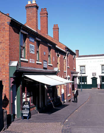 country living: View of the Victorian shops along the main village shopping street at the Black Country Living Museum, Dudley, West Midlands, England, UK, Western Europe.