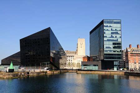 merseyside: View across Canning Dock towards modern office buildings, Liverpool, Merseyside, England, UK, Western Europe. Editoriali