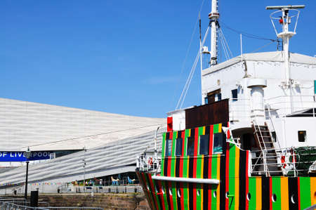 dazzle: The Dazzle Ship in Canning Dock with the Museum of Liverpool to the rear, Liverpool, Merseyside, England, UK, Western Europe. Editorial