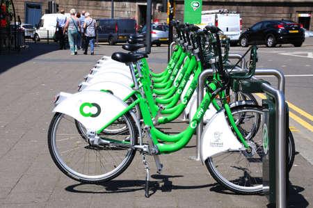 merseyside: City hire bikes near Lime Street Station, Liverpool, Merseyside, England, UK, Western Europe.