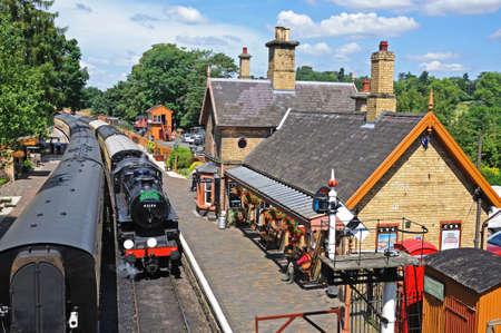severn: Steam Locomotive Ivatt Class 4 2-6-0 number 43106 in British Rail Black at the railway station, Severn Valley Railway, Arley, Worcestershire, England, UK, Western Europe.