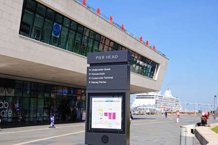 merseyside: The Ferry Building at Pier Head with a signpost in the foreground, Liverpool, Merseyside, England, UK, Western Europe. Editorial