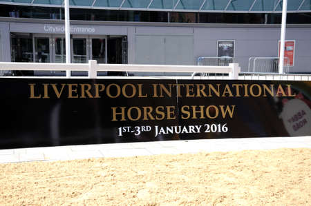 horse show: Liverpool International Horse Show Sign at Kings Dock, Liverpool, Merseyside, England, UK, Western Europe.