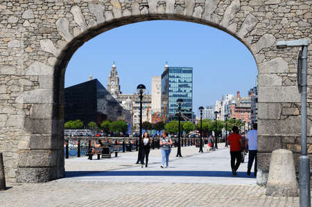 dockside: Stone Gable and arch entrance to Salthouse Dock, Liverpool, Merseyside, England, UK, Western Europe. Editorial