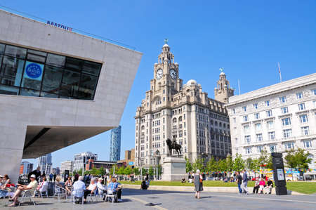 merseyside: View of the Liver Building and Cunard Building with a pavement cafe in the foreground, Liverpool, Merseyside, England, UK, Western Europe.