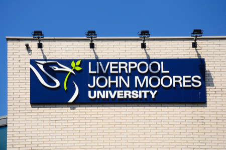 university sign: Liverpool John Moores University sign, Liverpool, Merseyside, England, UK, Western Europe.