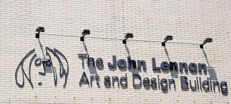 merseyside: The John Lennon Art and Design Building Sign, Liverpool, Merseyside, England, UK, Western Europe.