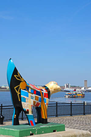 merseyside: Superlambanana along the quayside at Pier Head with a ferry to the rear, Liverpool, Merseyside, England, UK, Western Europe. Editorial