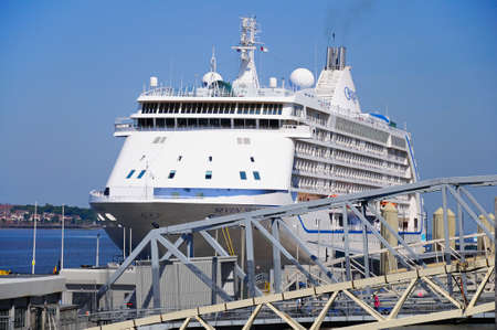seas: Seven Seas Voyager Cruise Ship at Liverpool Cruise Terminal, Liverpool, Merseyside, England, UK, Western Europe. Editorial
