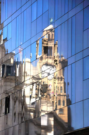 merseyside: Reflection of The Royal Liver Building in a glass fronted office block, Liverpool, Merseyside, England, UK, Western Europe.