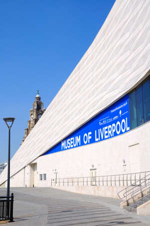 merseyside: The Museum of Liverpool building at Pier Head with the Royal Liver Building clock tower to the rear, Liverpool, Merseyside, England, UK, Western Europe.